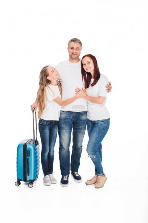 Family of tourists with luggage