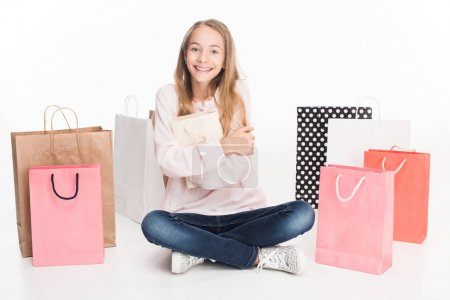 teen girl with shopping bags