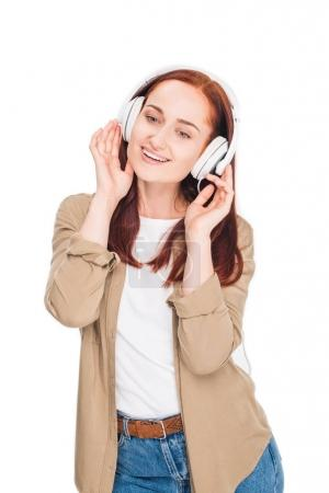 woman listening music with headphones