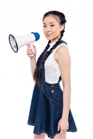 asian woman with loudspeaker