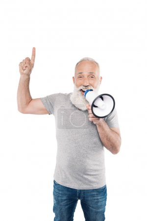 senior man with loudspeaker pointing up