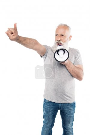 shouting senior man with loudspeaker
