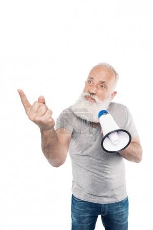 senior man with loudspeaker pointing to something