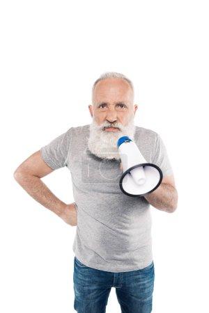 angry senior man with loudspeaker