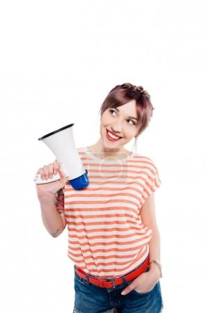 Smiling young woman with loudspeaker