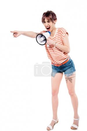 screaming young woman with loudspeaker
