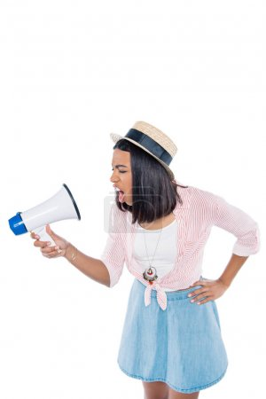 angry african american woman with loudspeaker