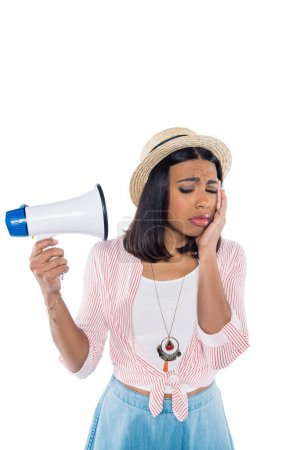 Sad african american woman with loudspeaker