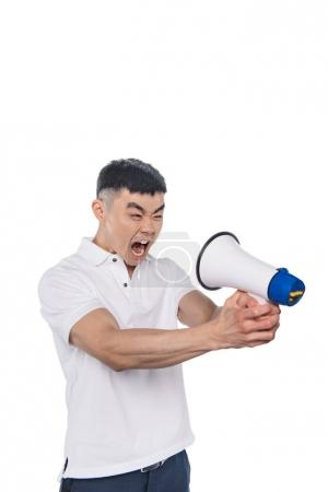 yelling asian man with bullhorn