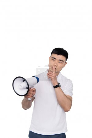 Asian man with bullhorn