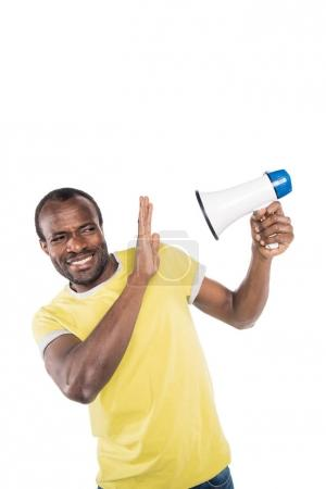 African american man with bullhorn