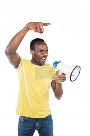 angry african american man with bullhorn