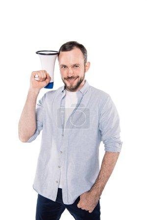 Smiling caucasian man with loudspeaker
