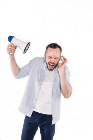 emotional caucasian man with loudspeaker