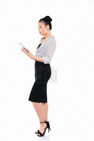 asian businesswoman with digital tablet
