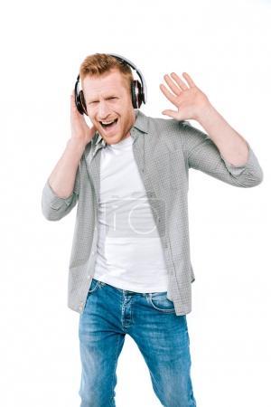 man yelling and listening music