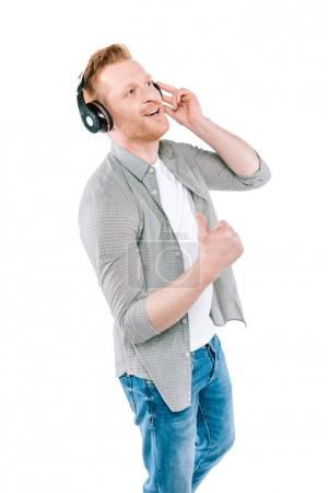 man with thumb up and headphones