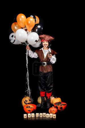 pirate with balloons, pumpkins and sweets
