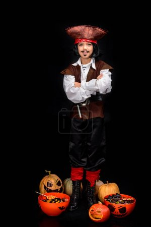 Little pirate with jack o lanterns