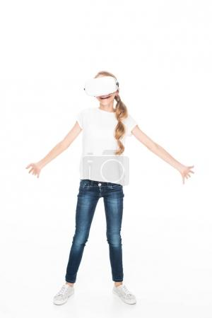 Photo for Excited female teenager using Virtual reality headset, isolated on white - Royalty Free Image