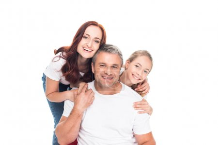 Photo for Happy family smiling at camera, isolated on white - Royalty Free Image