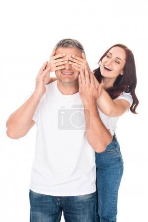 woman making surprise for boyfriend