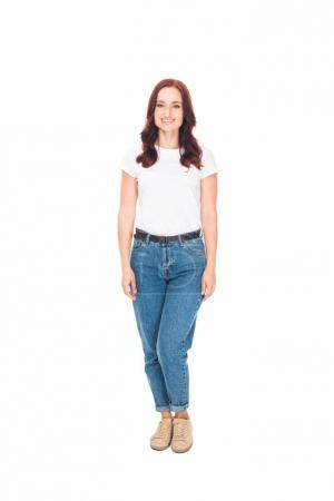 Smiling girl in jeans