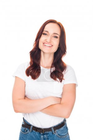 Photo for Smiling girl with crossed arms posing in casual clothes, isolated on white - Royalty Free Image