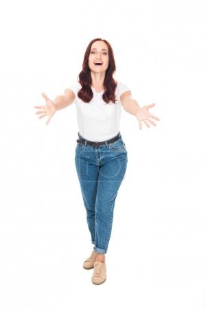 excited girl in jeans