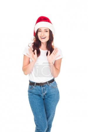 Excited girl in Santa hat
