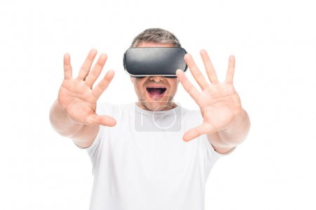 excited man using vr headset