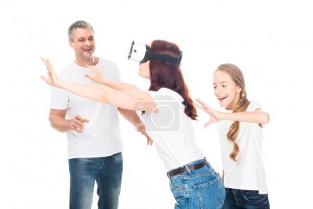 Photo for Excited family gesturing while using virtual reality headset, isolated on white - Royalty Free Image