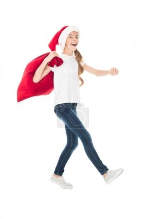 teen Santa with Christmas bag
