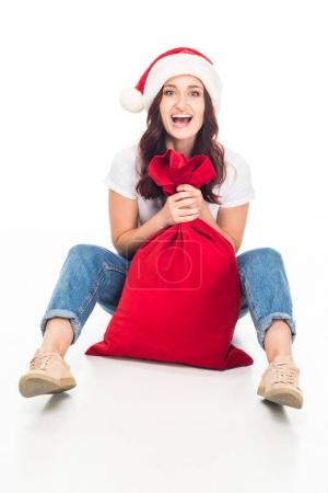 girl with Christmas bag