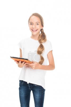 teenager using digital tablet