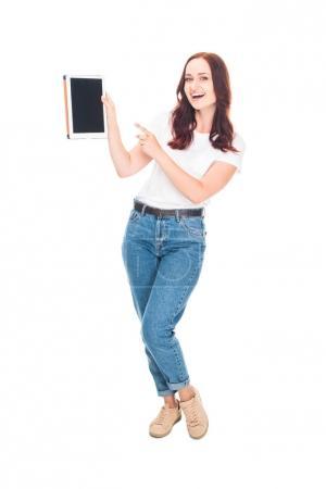 Woman presenting digital tablet