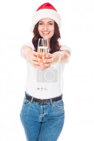 girl in Santa hat with champagne
