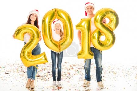family with 2018 New year balloons