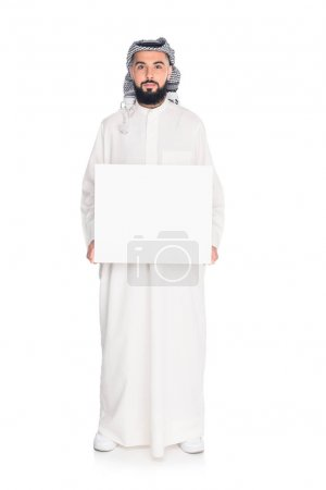 muslim man holding blank board