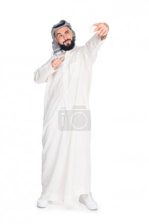 muslim man taking selfie