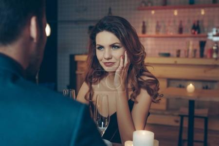 woman looking at boyfriend