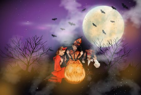 devil, witch and pirate at halloween night
