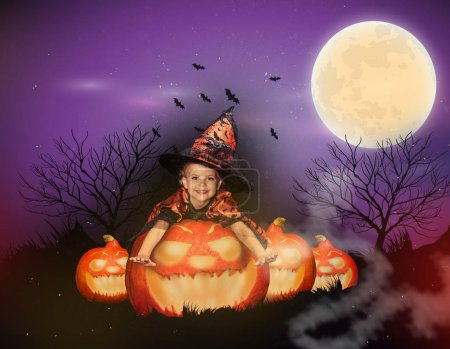 witch on big jack o lantern