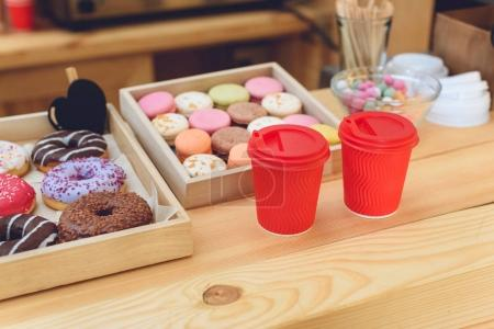 plastic cups and cookies