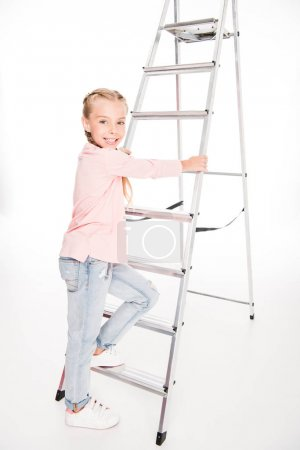 kid with metal ladder