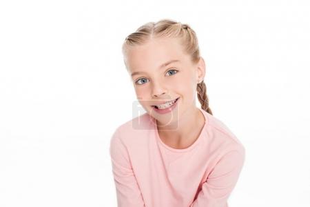Photo for Portrait of a young happy child in pink shirt, isolated on white - Royalty Free Image