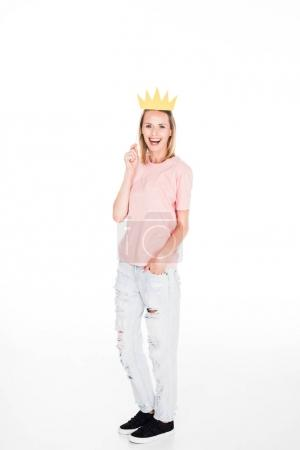 woman with cardboard crown
