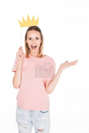 excited woman with cardboard crown
