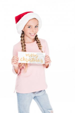 child with merry christmas card