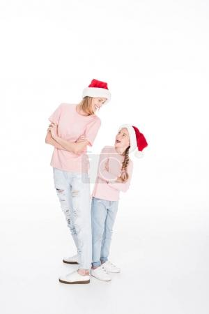 Mother and daughter on christmas